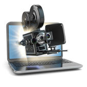 Video concept. Retro camera and  laptop. — Stock Photo