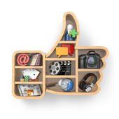 Like. Social media concept. Thumb up and apps icons. — Foto de Stock