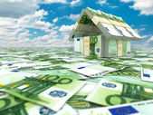 Bank. House from pack of euro on cloudscape. — Zdjęcie stockowe