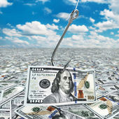Dollar and fish-hook on cloudscape. Financial concept.. — Stock Photo