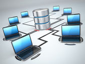 Database storage and laptops. Networking concept — Stock Photo