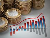 Finansiella begrepp. euromynt på grafen. — Stockfoto