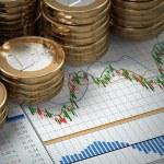 Financial concept.  Euro coins on graph. — Stock Photo #49123247