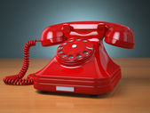 Vintage phone on green background. Hotline support concept. — Foto de Stock