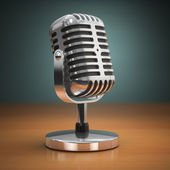 Vintage microphone on green background. Retro style. — Foto Stock