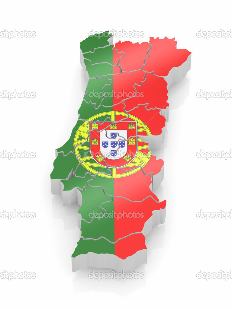 carte du portugal dans les couleurs du drapeau portugais. Black Bedroom Furniture Sets. Home Design Ideas