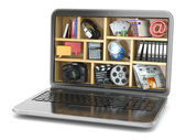 Cloud computing concept. Laptop's software and capabilities. — Stock Photo