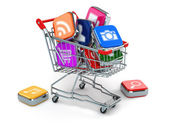 Apps icons in shopping cart. Store of  computer software. — Stock Photo