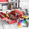 Construction and repair concept. Toolbox, paint cans and house. — Stock Photo #51018005