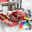 Construction and repair concept. Toolbox, paint cans and house. — Stock Photo