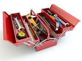 Toolbox with tools on white isolated background. — Zdjęcie stockowe