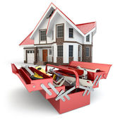 Construction and repair concept. Toolbox with tools and house, — Stock Photo