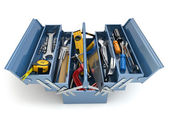 Toolbox with tools on white isolated background. — Stock Photo
