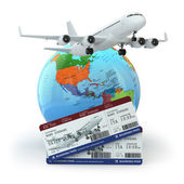 Travel concept. Airplane, earth and tickets. — Stock Photo