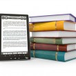 E-book reader. Books and tablet pc — Stock Photo #9318734