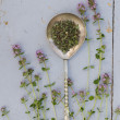 Thyme sprigs with dried in spoon — Foto Stock #37019373