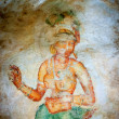 Ancient famous wall paintings (frescoes) at Sigirya Sri Lanka — Foto Stock