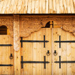 Stock Photo: Decorated wooden gate