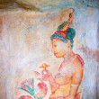 Ancient famous wall paintings (frescoes) at Sigirya Sri Lanka — Stock Photo