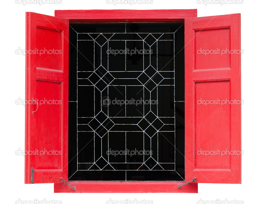 Red vintage window isolated on white background  Stock Photo #13491972