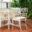 Stock Photo: Outdoor restaurant tables and chairs in classical style