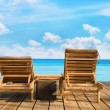 Two wooden beach chair — Foto Stock