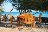Cafe on a tropical beach — 图库照片