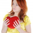 Young woman with valentine's — Stock Photo #1748632