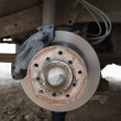 Постер, плакат: Front disk brake on a old car