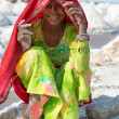 Indian female worker on salt farm — Stock Photo
