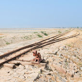 Old railway on Sambhar Salt Lake, India — Stock Photo