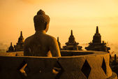 Buddha in Borobudur Temple at sunrise. Indonesia. — Foto Stock
