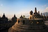 Buddha in Borobudur Temple at sunrise. Indonesia. — Stock Photo