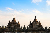 Borobudur Temple wall at sunrise. Indonesia. — Stock Photo
