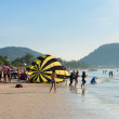 Crowded Patong beach with tourists, Phuket, Thailand — Stock Photo