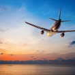 Airplane flying at sunset — Stock Photo #21412449