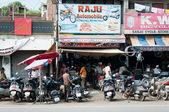 Chaotic motorbike repair service work, India — Stock Photo