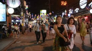 Patong Bangla road at night, Phuket, Thailand — Stock Video