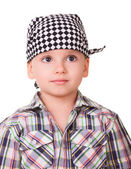 Preschool boy in bandanna and shirt — Stock Photo