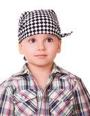 Preschool boy in bandanna and shirt — Stock Photo