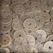 Antique bronze Chinese coins — Stock Photo