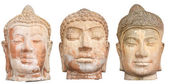Three Buddha heads isolated on white — Stock Photo