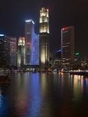 Illuminated skyline of Singapore at night — Stock Photo