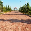 Stock Photo: Wide path in nice light park under blue sky