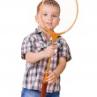 Boy with badminton racket on white — Stock Photo #25857869