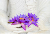 Fresh flowers in Buddha image hands — Stock Photo