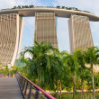 Back view on modern Singapore hotel Marina Bay Sands — Stock Photo