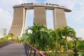 Back view on modern Singapore hotel Marina Bay Sands — Stock Photo