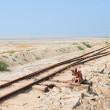 Old railway on Sambhar Salt Lake, India — Stock Photo