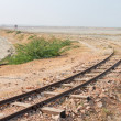Old railway on Sambhar Salt Lake, India — Stok fotoğraf